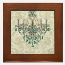shabby chic damask vintage chandelier Framed Tile
