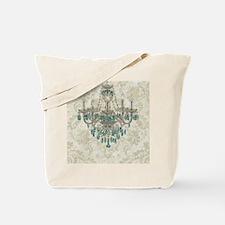 shabby chic damask vintage chandelier Tote Bag