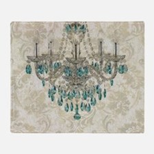 shabby chic damask vintage chandelie Throw Blanket