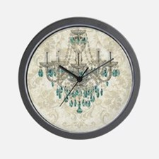 shabby chic damask vintage chandelier Wall Clock