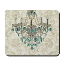 shabby chic damask vintage chandelier Mousepad