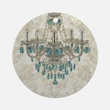 shabby chic damask vintage chandeli Round Ornament