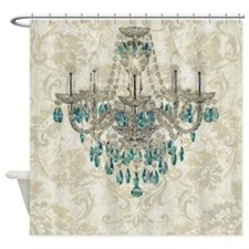 shabby chic damask vintage chandeli Shower Curtain