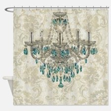 shabby chic damask vintage chandeli Shower Curtain
