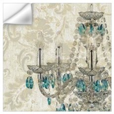 shabby chic damask vintage chandelier Wall Decal