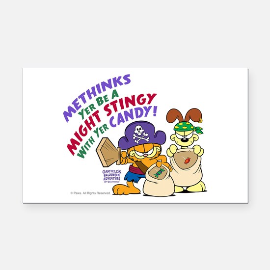 Garfield Stingy Candy Rectangle Car Magnet