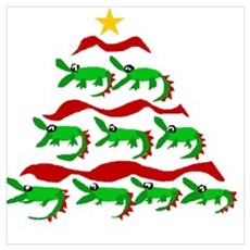Funny Alligator Christmas Tree Poster