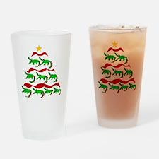 Funny Alligator Christmas Tree Drinking Glass