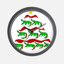 Funny Alligator Christmas Tree Wall Clock