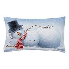 Relaxed Snowman Pillow Case