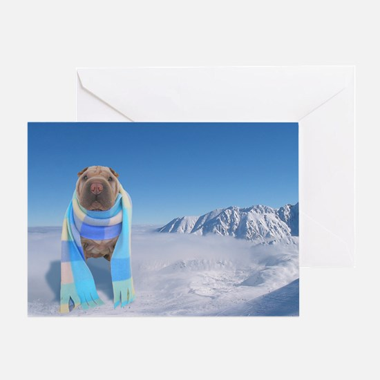 Winter Shar Pei Greeting Card