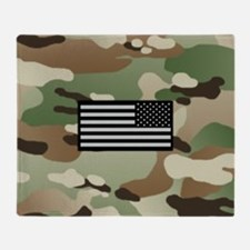 New Camouflage Pattern with IR Flag Throw Blanket