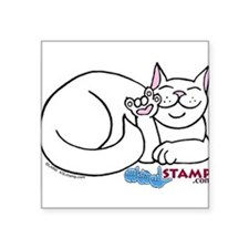 "Cool American short haired white cat Square Sticker 3"" x 3"""