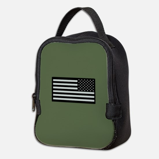 IR U.S. Flag on Military Green Neoprene Lunch Bag