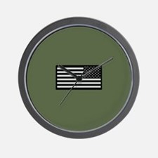 IR U.S. Flag on Military Green Backgrou Wall Clock