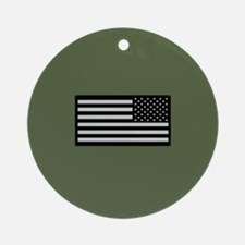IR U.S. Flag on Military Green Back Round Ornament