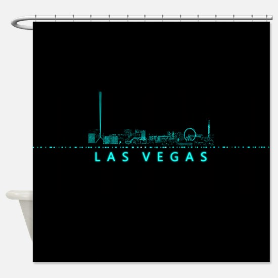 digital cityscape las vegas nevad shower curtain