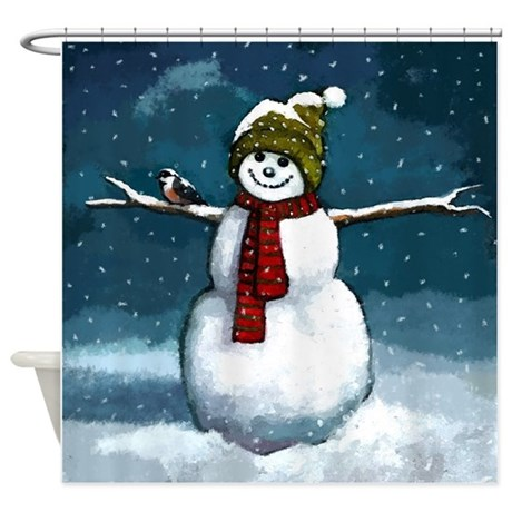 Snowman Scene Shower Curtain By Simpleshopping