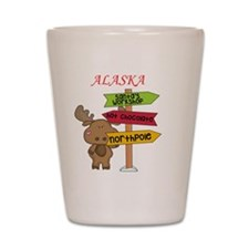 Alaska Moose What Way To The North Pole Shot Glass