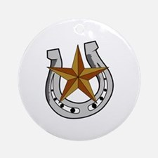 HORSE SHOE AND STAR Round Ornament