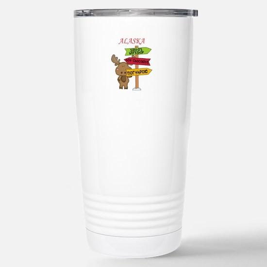 Alaska Moose What Way T Stainless Steel Travel Mug