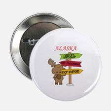 """Alaska Moose What Way To The North Po 2.25"""" Button"""