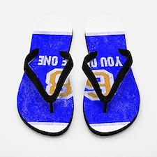 Sixty Eight You Owe Me One Blue White O Flip Flops