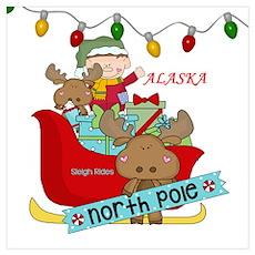 Alaska North Pole Sleigh Rides Poster