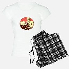 Ham Radio Operator Circle Woodcut Pajamas
