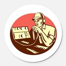 Ham Radio Operator Circle Woodcut Round Car Magnet