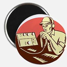 Ham Radio Operator Circle Woodcut Magnets