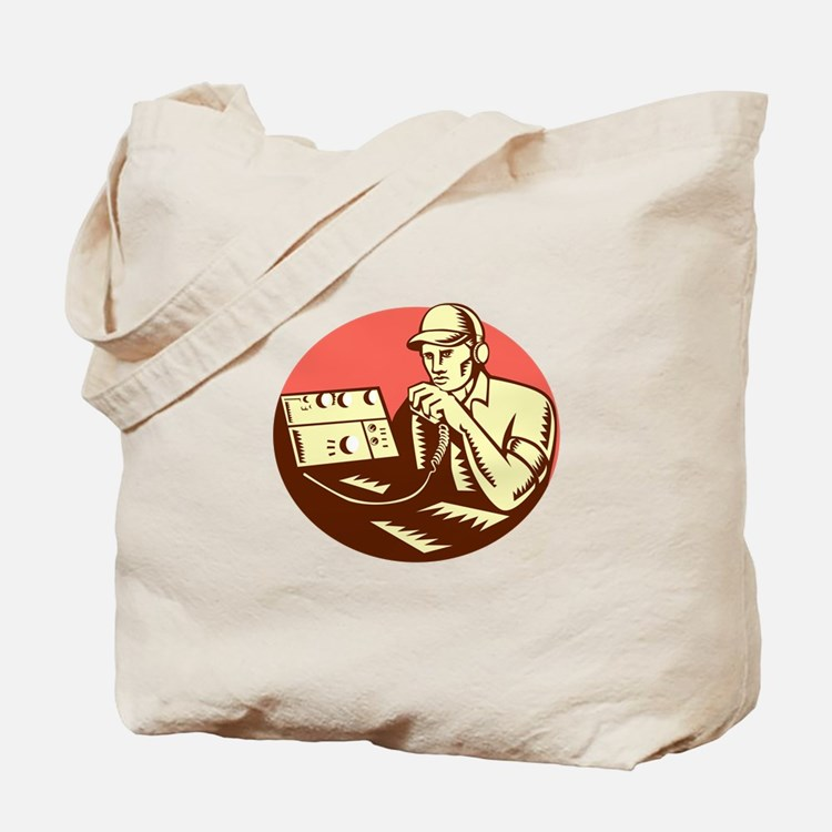 Ham Radio Operator Circle Woodcut Tote Bag