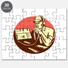 Ham Radio Operator Circle Woodcut Puzzle