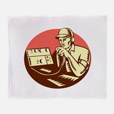 Ham Radio Operator Circle Woodcut Throw Blanket