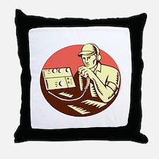 Ham Radio Operator Circle Woodcut Throw Pillow