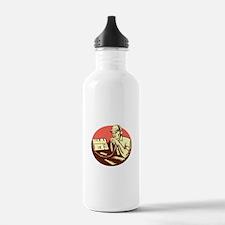 Ham Radio Operator Circle Woodcut Water Bottle