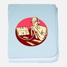 Ham Radio Operator Circle Woodcut baby blanket