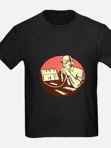 Ham Radio Operator Circle Woodcut T-Shirt