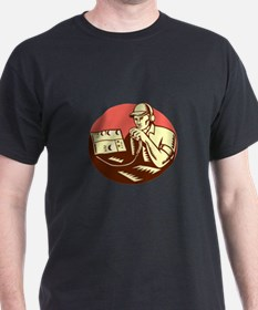 Ham Radio Operator Circle Woodcut T-Shirt