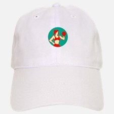 Female Lifting Dumbbell Circle Retro Baseball Baseball Baseball Cap