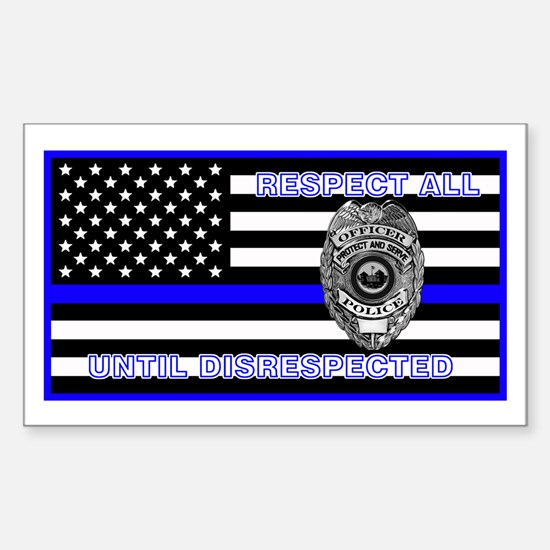 Police Flag-Blue-Respect Until Decal