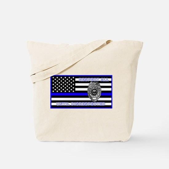 Police Flag-Blue-Respect Until Tote Bag