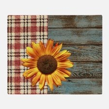 primitive country plaid burlap sunfl Throw Blanket