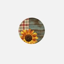 primitive country plaid burlap sunflow Mini Button