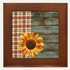primitive country plaid burlap sunflow Framed Tile