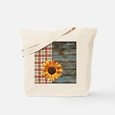 primitive country plaid burlap sunflower Tote Bag