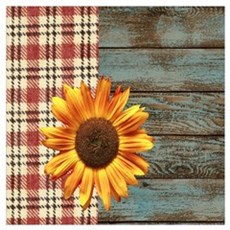 primitive country plaid burlap sunflower Framed Print