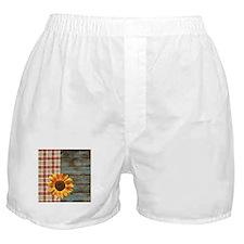 primitive country plaid burlap sunflo Boxer Shorts