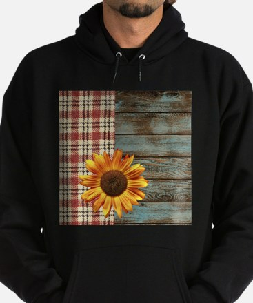 primitive country plaid burlap sunfl Hoodie (dark)