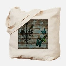 shabby chic barn vintage chandelier Tote Bag